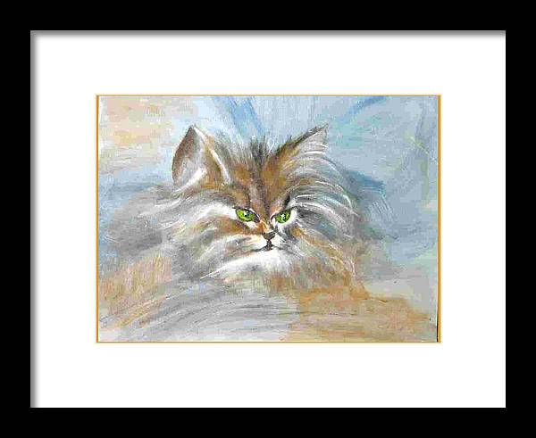 Cat Framed Print featuring the painting cat by Dragica Micki Fortuna