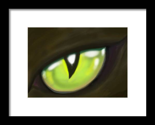 Cat Framed Print featuring the painting Cat Eye by Kevin Middleton