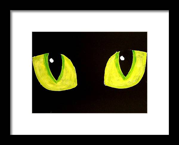 Cat Framed Print featuring the painting Cat Eyes by Teo Alfonso