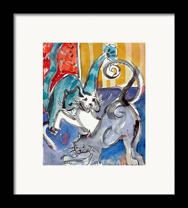 Cat Framed Print featuring the painting Cat Fight by Mindy Newman
