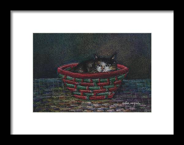 Cat Framed Print featuring the pastel Cat In A Basket by Arline Wagner