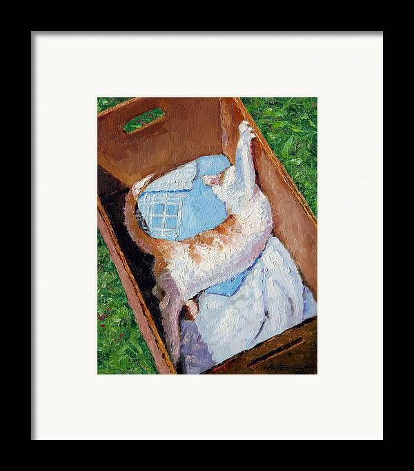 Kitten Framed Print featuring the painting Cat In A Box by John Lautermilch