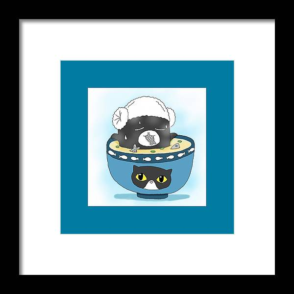 Cat Framed Print featuring the digital art Cat In Food by Lai Ann Key