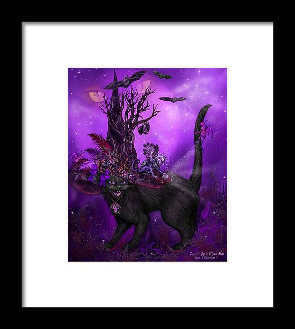 Cat Art Framed Print featuring the mixed media Cat In Goth Witch Hat by Carol Cavalaris