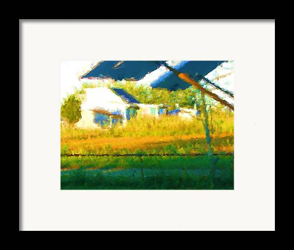 Framed Print featuring the painting Cat In The Grass by Jonathan Galente