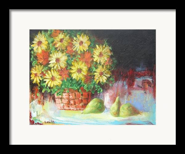 Cats. Flowers. Still Life Framed Print featuring the print Cat In The Window by Carl Lucia