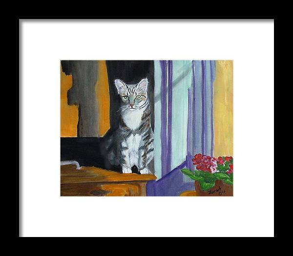 Cat Framed Print featuring the painting Cat In Window by Mary Jo Zorad