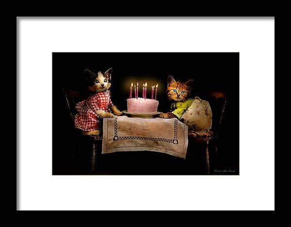 Cat Framed Print featuring the photograph Cat - It's Our Birthday - 1914 by Mike Savad