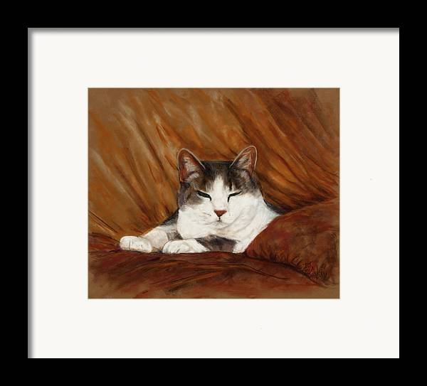 Cat Framed Print featuring the painting Cat Nap by Billie Colson