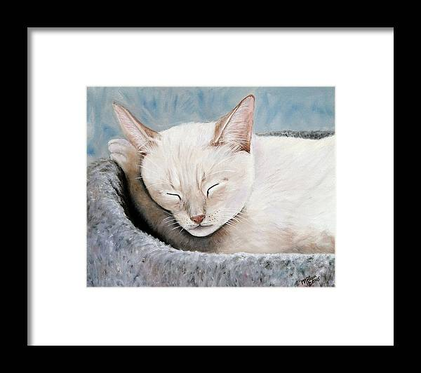 Pets Framed Print featuring the painting Cat Nap by Merle Blair