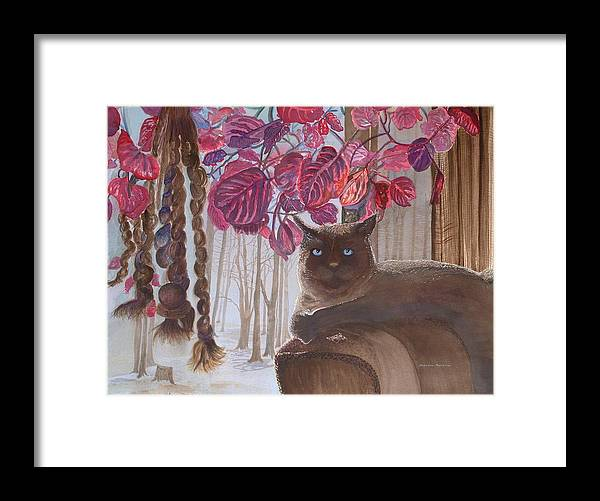 Cat Framed Print featuring the painting Cat On A Foggy Day by Rebecca Marona