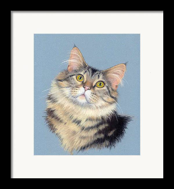 Domestic Animal Framed Print featuring the painting Cat Portrait by Deb Owens-Lowe