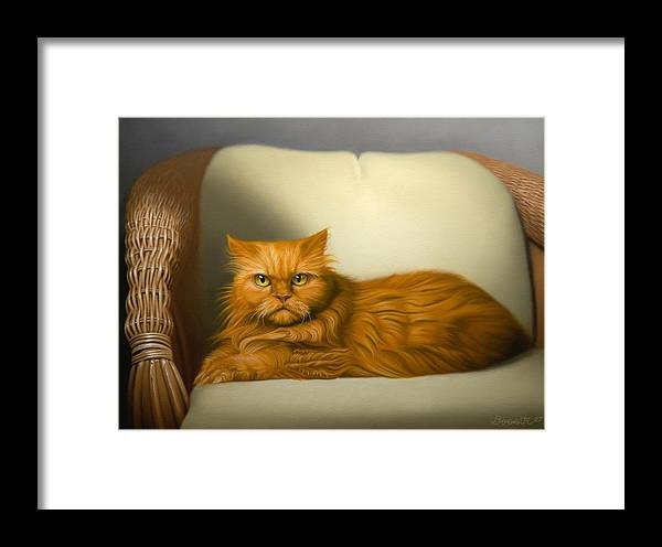 Cats Framed Print featuring the painting Cat Portrait Of Tosca by Eric Bossik