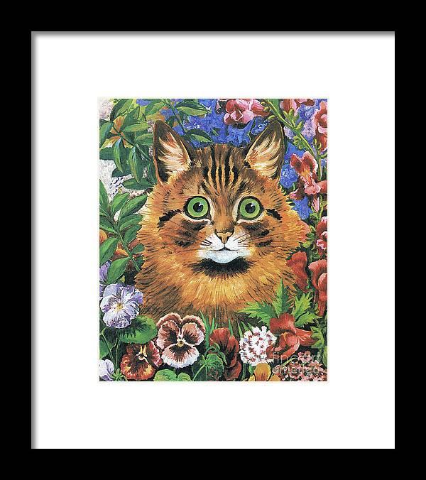 c33196fb22f Cat Study Framed Print by Louis Wain