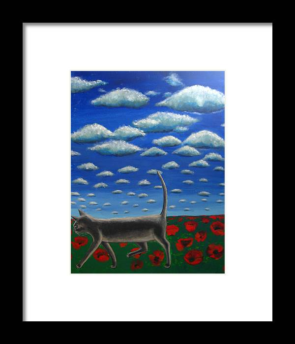 Cat Framed Print featuring the painting Cat Who Walks Alone by Aliza Souleyeva-Alexander