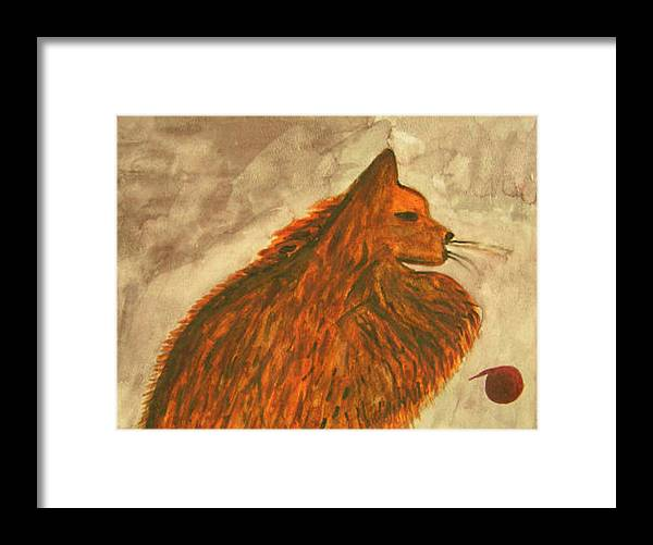 Cat Framed Print featuring the painting Cat With Yarn by Natalee Parochka