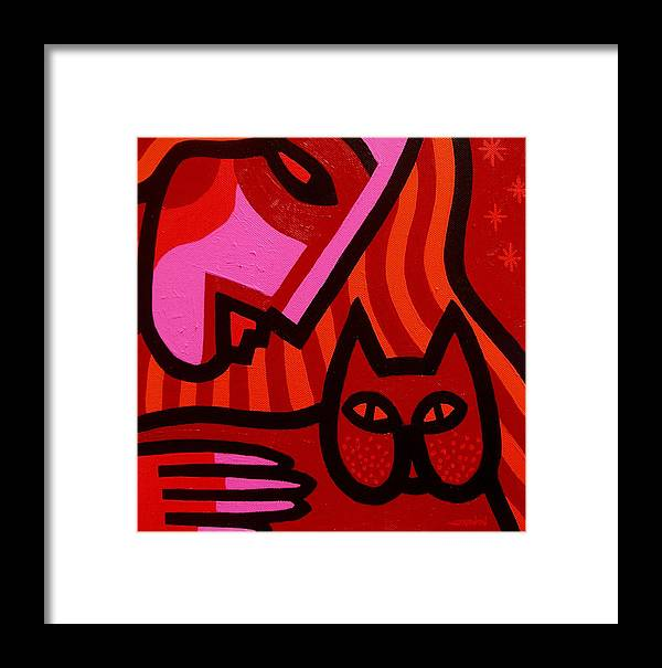 Acrylic Framed Print featuring the painting Cat Woman by John Nolan