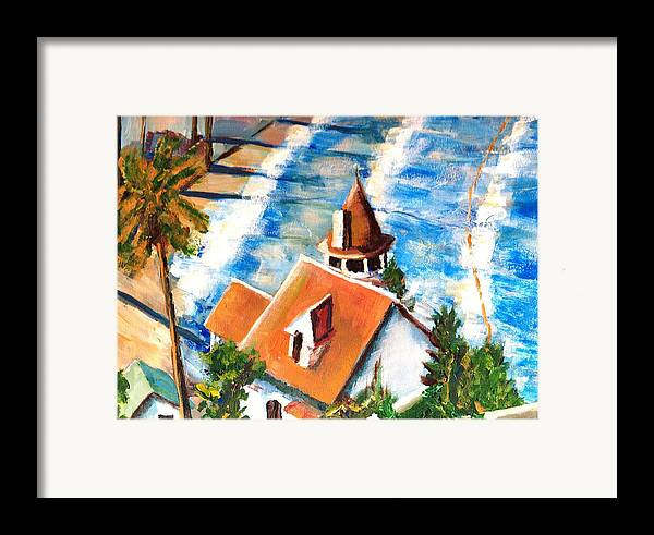 Catalina Framed Print featuring the painting Catalina Cottage Sold by Randy Sprout