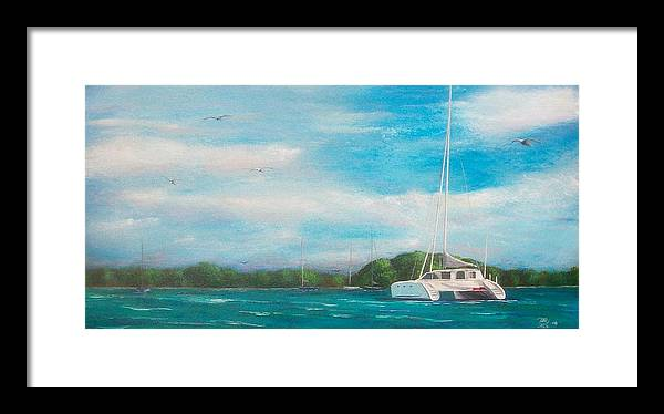 Seascape Framed Print featuring the painting Catamaran in Salinas Harbor by Tony Rodriguez