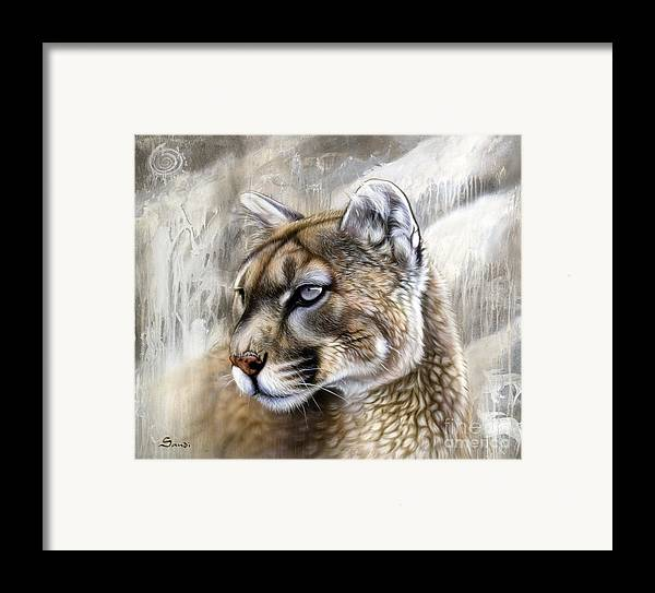 Acrylic Framed Print featuring the painting Catamount by Sandi Baker