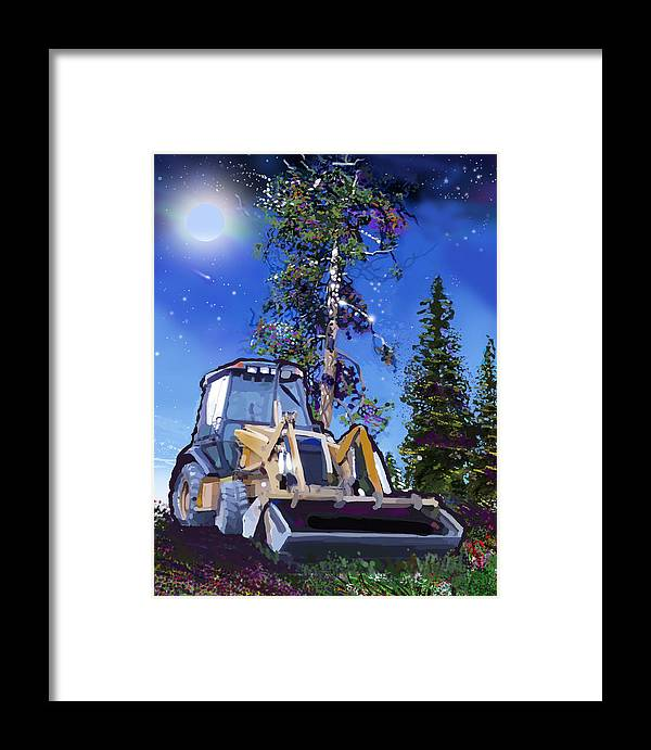Bulldozers Framed Print featuring the painting Catapillar And Trees by Brad Burns