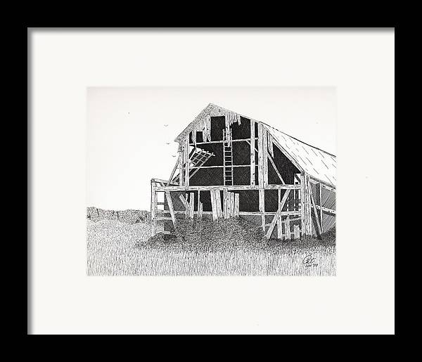 Pen And Ink Framed Print featuring the drawing Catawba Barn by Pat Price