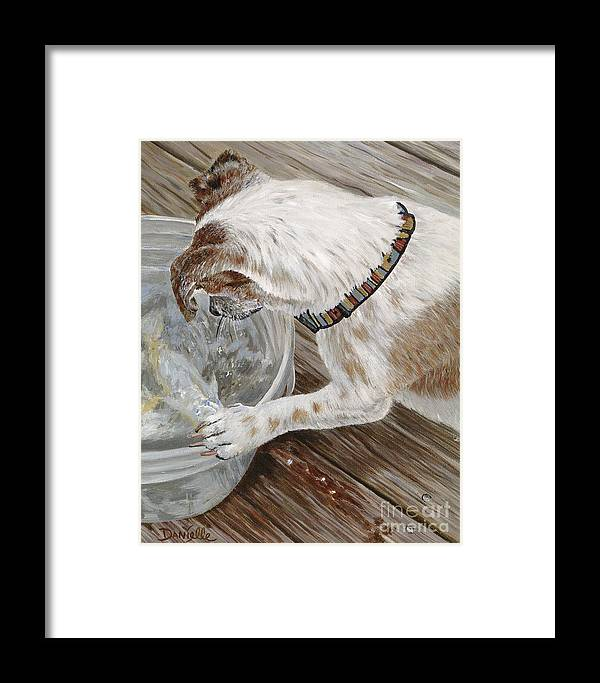 Pet Portrait Framed Print featuring the painting Catch Of The Day by Danielle Perry
