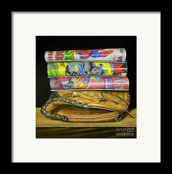 Still Life Framed Print featuring the painting Catch The Hero by Vic Vicini