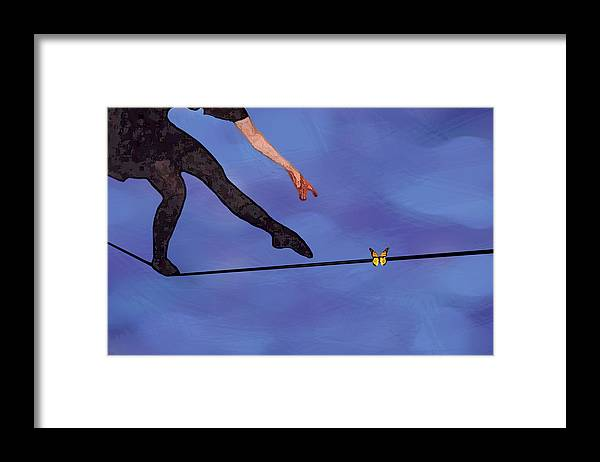 Surreal Framed Print featuring the painting Catching Butterflies by Steve Karol