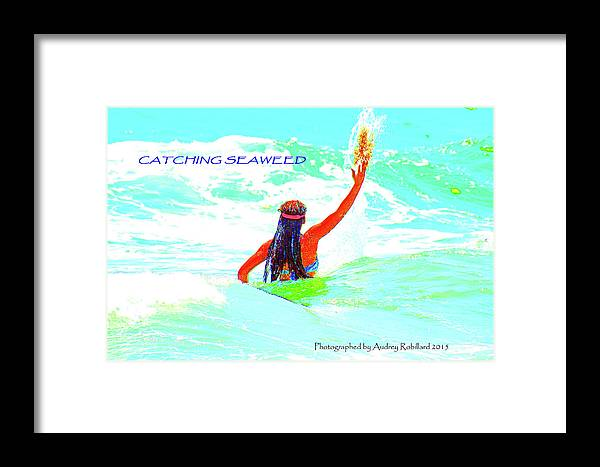 Kids Framed Print featuring the photograph Catching Seaweed by Audrey Robillard