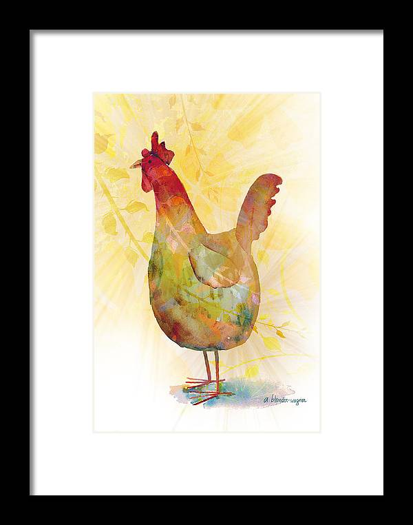 Rooster Framed Print featuring the mixed media Catching Some Rays by Arline Wagner