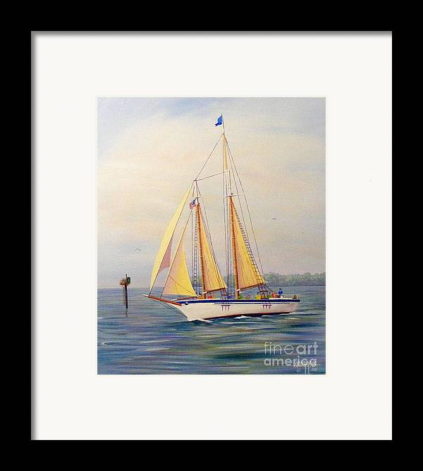Water.blue Framed Print featuring the painting Catching The Wind by Hugh Harris