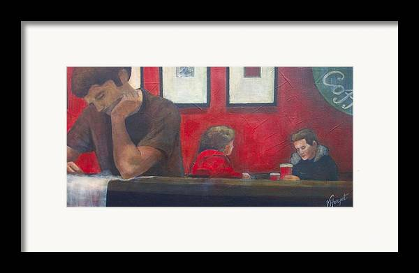Coffe Shop Framed Print featuring the painting Catching Up by Victoria Heryet