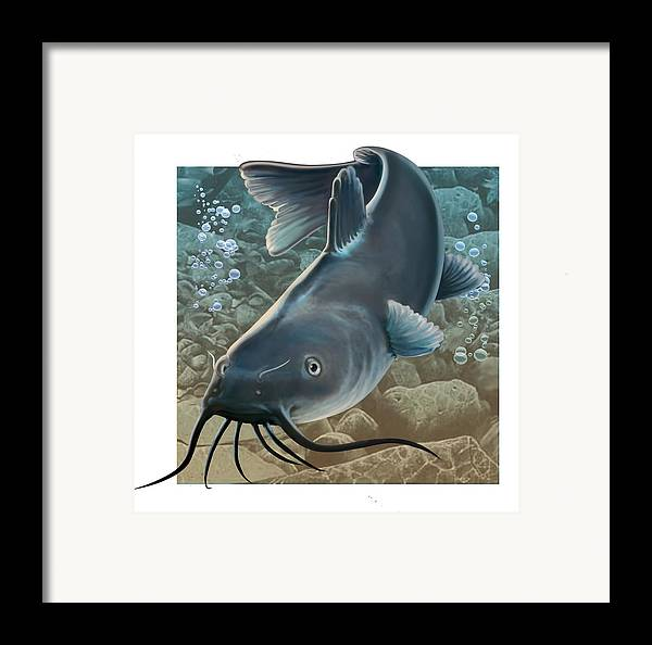 Fish Framed Print featuring the digital art Catfish by Valer Ian