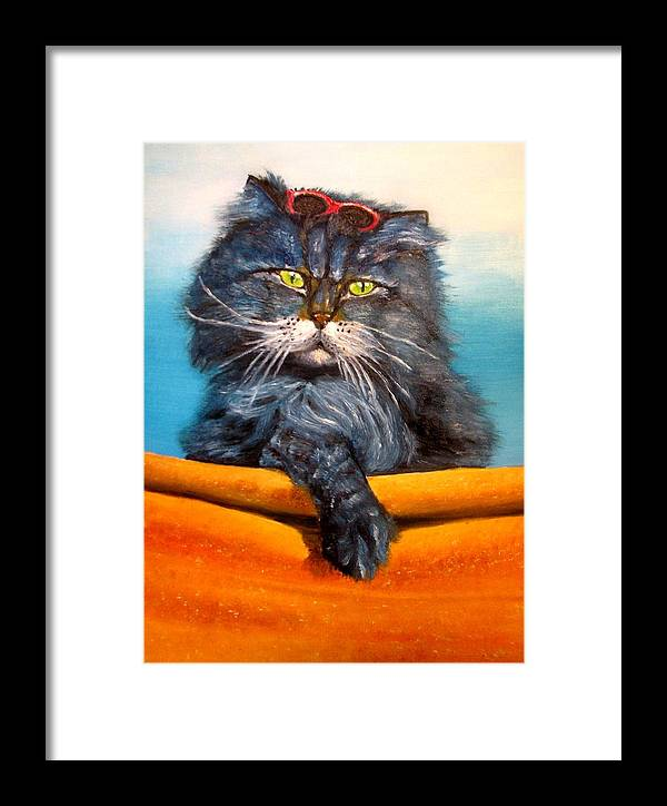 Cat Framed Print featuring the painting Cat.go To Swim.original Oil Painting by Natalja Picugina