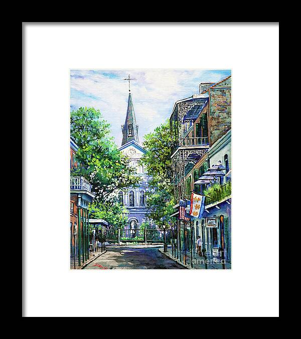 Louisiana Cathedral Framed Print featuring the painting Cathedral at Orleans by Dianne Parks