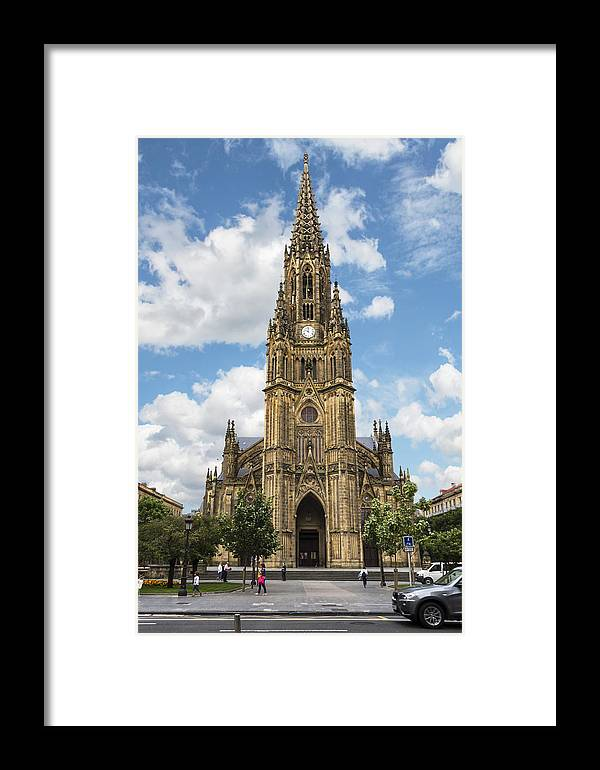 George Westermak Framed Print featuring the photograph Cathedral In San Sebastian Is The Largest Religious Structure In The Basque Country by George Westermak