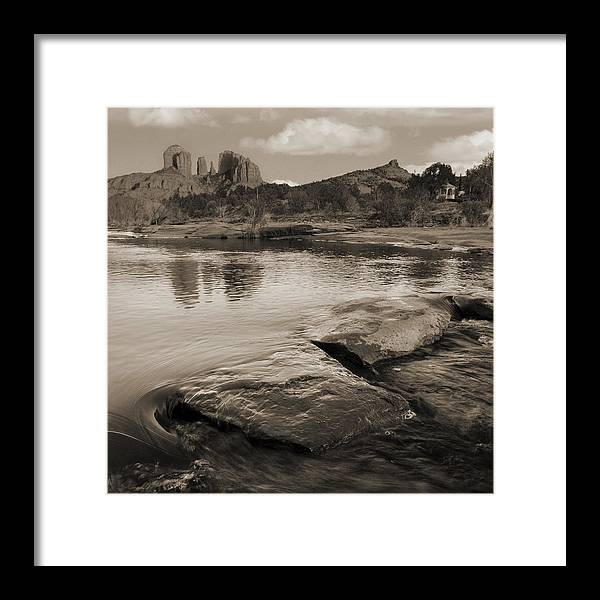Red Rocks Framed Print featuring the photograph Cathedral Rock Flow by Bob Coates