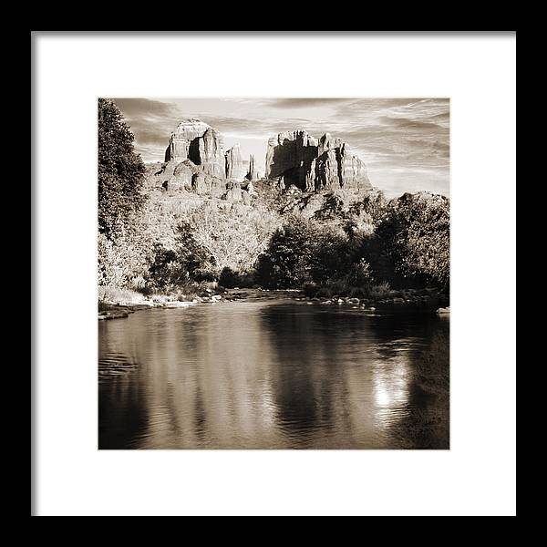 Red Rocks Framed Print featuring the photograph Cathedral Rock Reflection by Bob Coates
