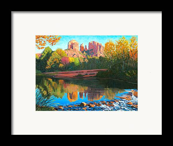 Oak Creek Framed Print featuring the painting Cathedral Rock - Sedona by Steve Simon