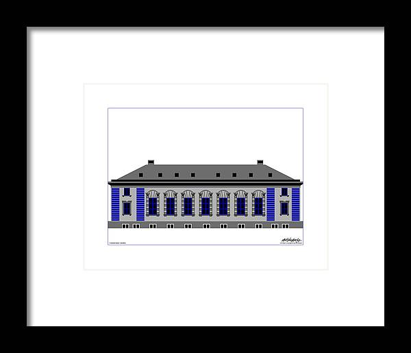 Framed Print featuring the painting Cathedral Square Grey Passepartout by Asbjorn Lonvig