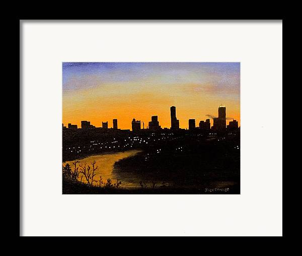 Cityscape Framed Print featuring the painting Catherine's Sunrise by Jack Skinner