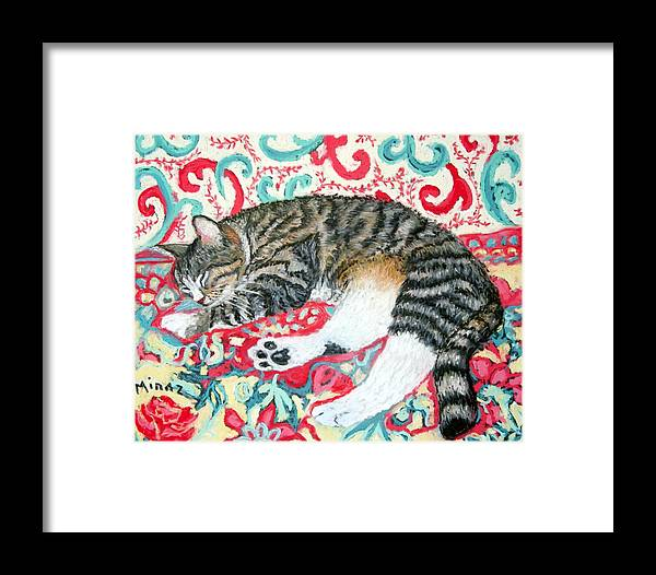 Cat Framed Print featuring the painting Catnap Time by Minaz Jantz