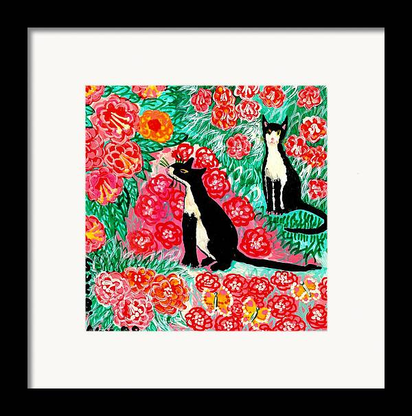 Sue Burgess Framed Print featuring the painting Cats And Roses by Sushila Burgess