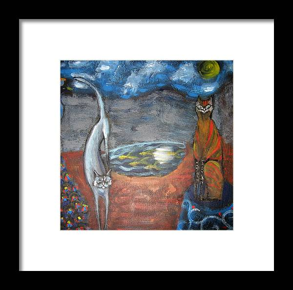 Cat Framed Print featuring the painting Cat's Dreams by Aliza Souleyeva-Alexander