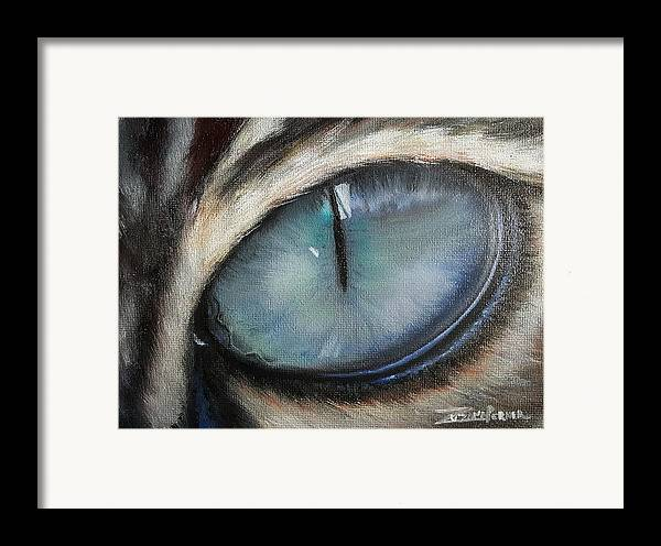 Cat Framed Print featuring the painting Cat's Eye by Zuzana Perner