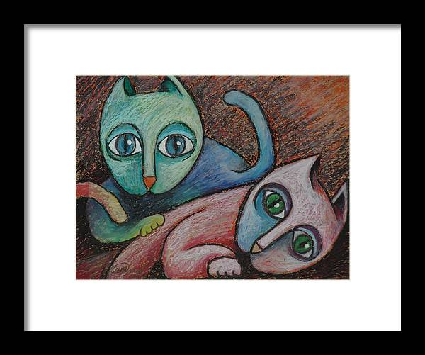 Cats Sacha Circulism Framed Print featuring the drawing Cats II 2000 by S A C H A - Circulism Technique