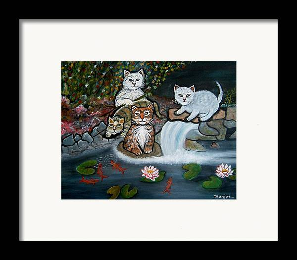 Acrylic Art Landscape Cats Animals Figurative Waterfall Fish Trees Framed Print featuring the painting Cats In The Wild by Manjiri Kanvinde