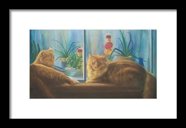 Cats Framed Print featuring the painting Cats In The Window by Diane Caudle