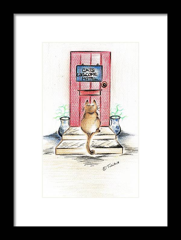 Framed Print featuring the drawing Cat's Welcome Motel by Teresa White